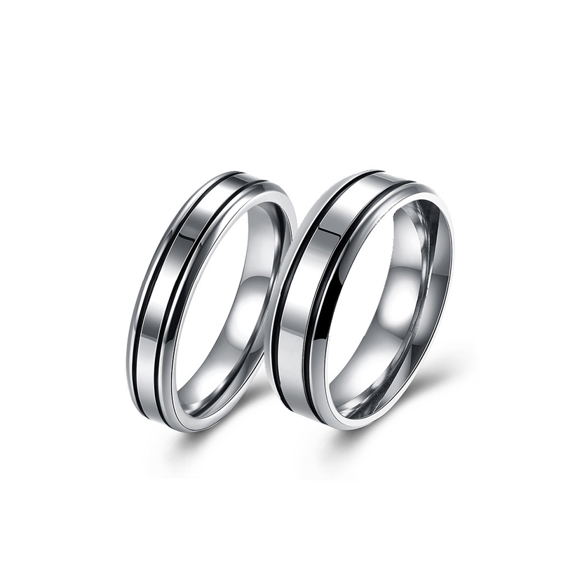 Simple Design Silver Color Romantic Ring Wedding Jewelry For Couples Fashion Mens Womens Ring
