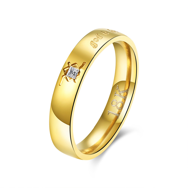 Fashion Romantic Style Jewelry Zircon Stainless Golden Charms Ring For Women