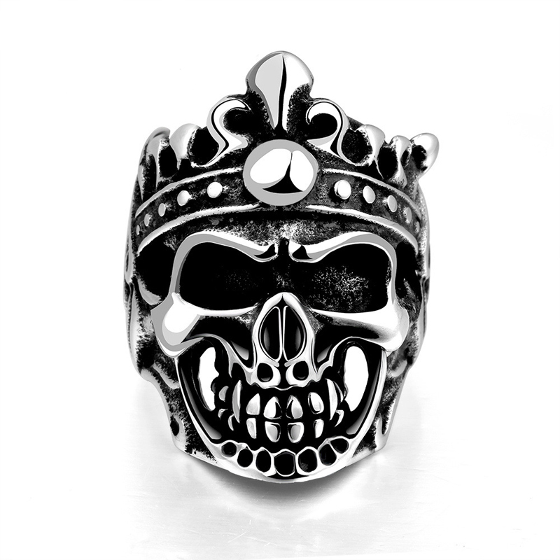 Classic Luxury Elegant Punk Style Unique Star Celebrity King Undead Skull   Crown Ring For Men