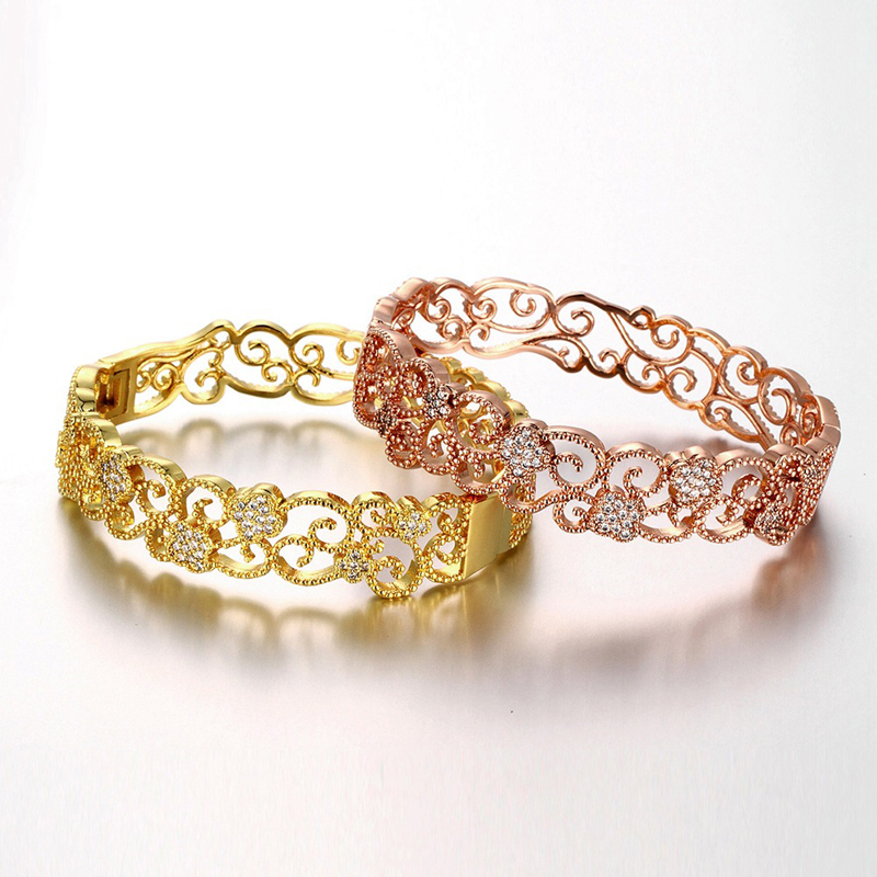Classic Crystal Zircon Openwork Flowers Indian Pattern Bangles Jewelry For Women
