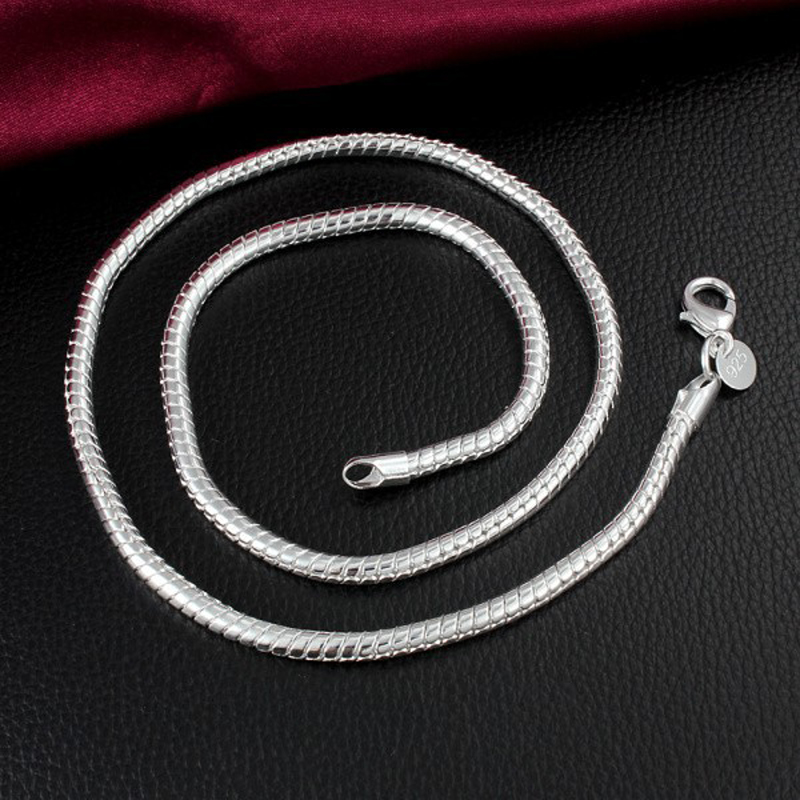 Hot Silver Snake Chain Necklace 4MM Top Quality Fashion Jewelry For Men