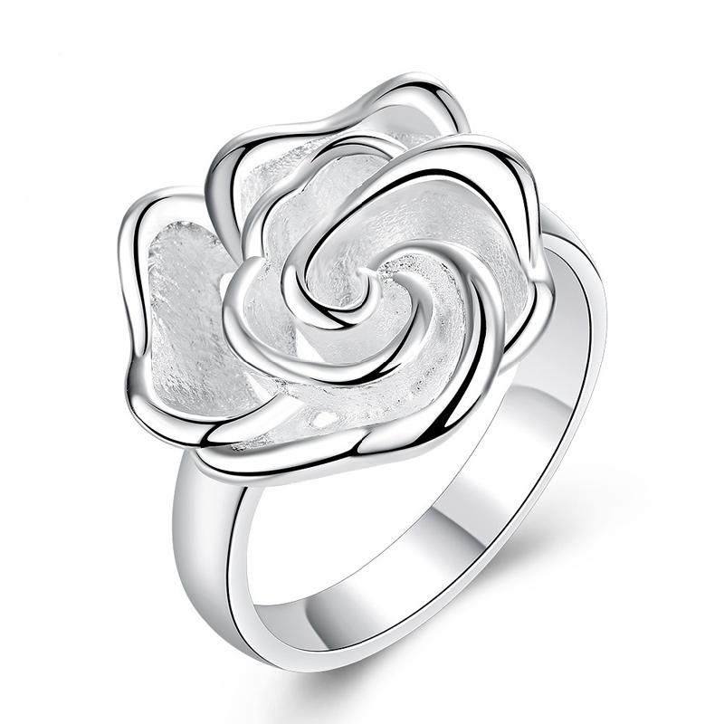 Unique Design 3D Rose Flower Open Hollow Out Design Finger Ring Fashion Jewelry For Women