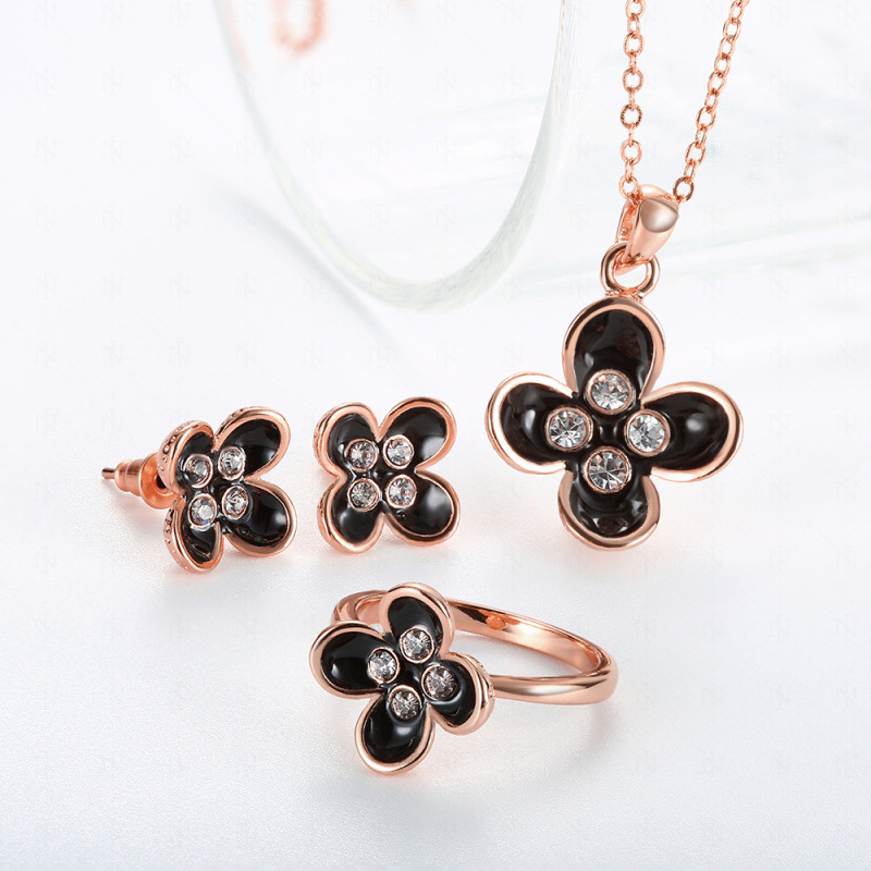 Fashion Jewelry Set Drip Clover Flower Inlaid CZ Necklace + Earrings + Ring Anti Allergy For Women