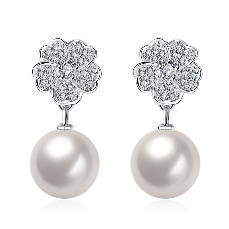 Korean style Rhinestone Flower Pearl Drop Luxury Earring Jewelry Fashion For Women Girl