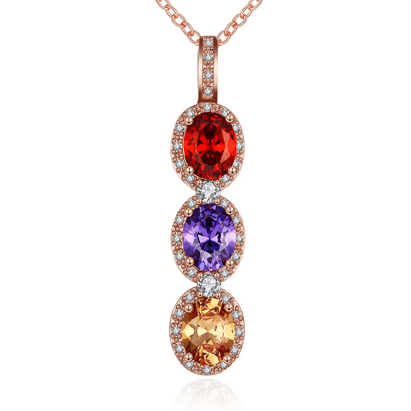 Trendy Cubic Zircon & 3 Colors Crystals Pendant Necklace Jewelry Fashion For Women Girl