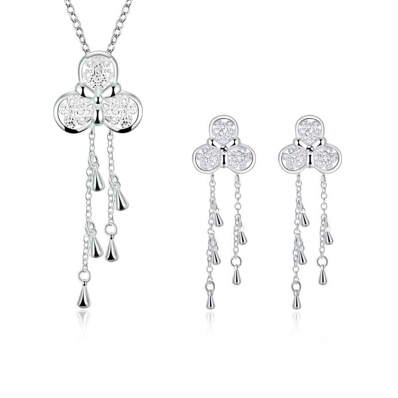Unique Sliver Jewelry Set Anti Allergy Wind Chime style Necklace + Earrings For Women Girl