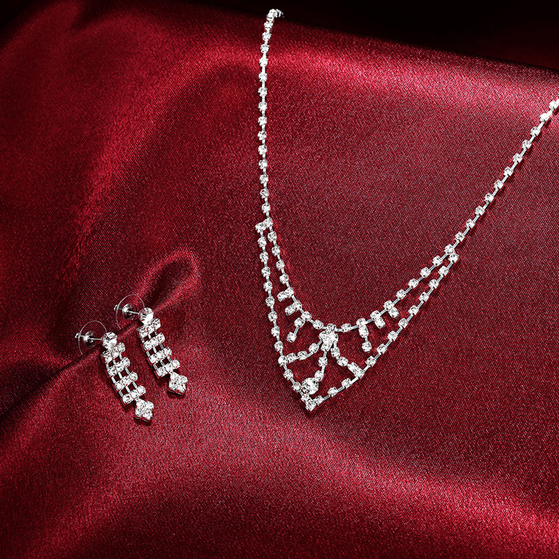 Unique Design Jewelry Sets Elegant Drop Necklace + Earrings Crystal For Women