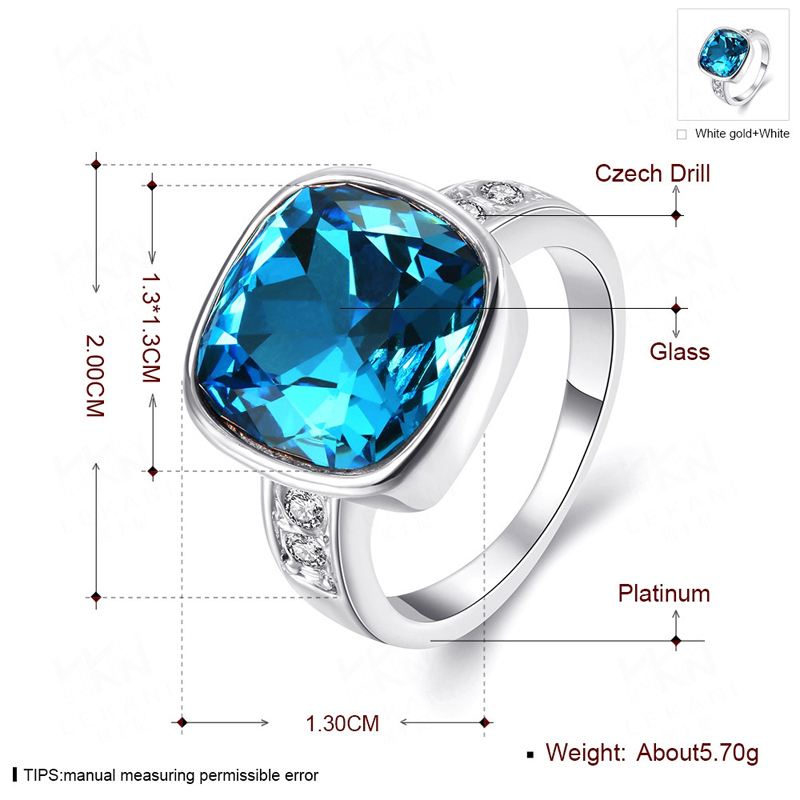 New Design 925 Sliver Glass Crystal Inlay Couples Ring Jewelry For Women