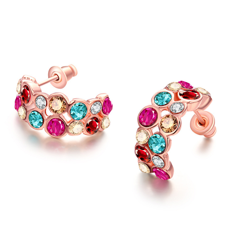 New Colouful Cubic Zirconia Crystal Stud Earrings Fashion For Women Girl