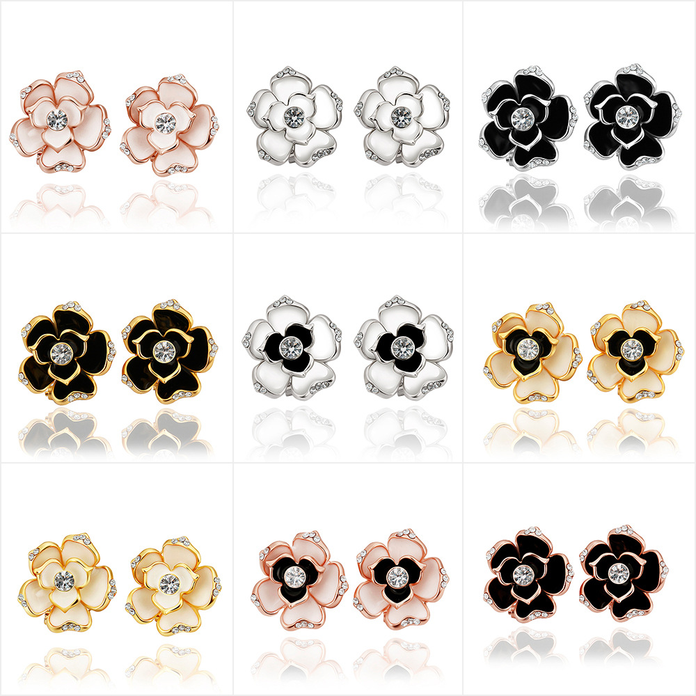 Fashion Morning Glory Flower with Crystal Zircon Lady Earring Jewelry For Women