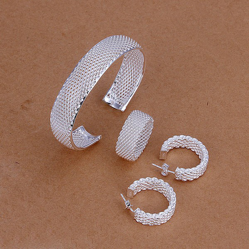 Hot Selling 925 Sterling Silver Jewelry Set Bangle+Earring+Ring Fashion For Women