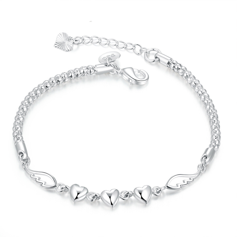 Angel's Wing Silver Plated Bracelet Girl Charming Love Forever Jewelry For   Women Girl
