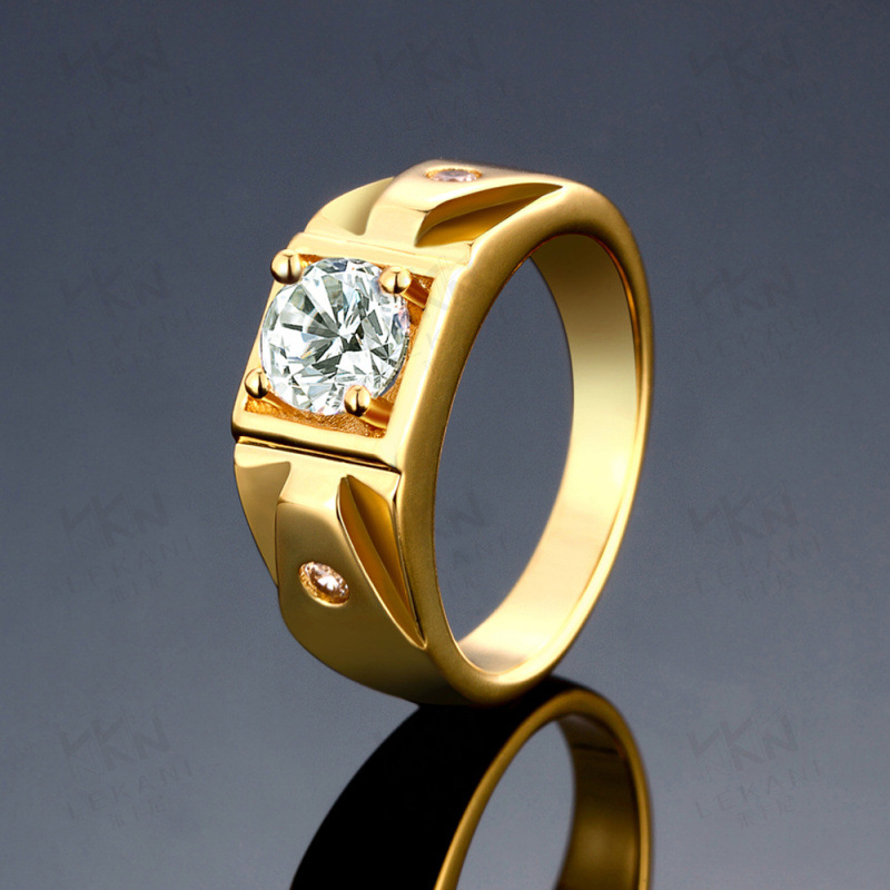 Unique Design Crystal Rings With 2PCS Side Stones Round Brilliant Ring Jewelry For Men