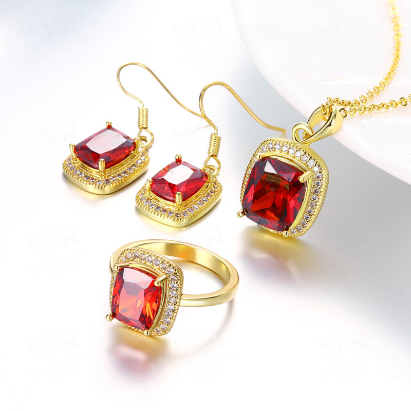 Classic Jewelry with Red/Blue Crystal Jewelry Sets Necklace + Earrings + Ring Fashion For Women