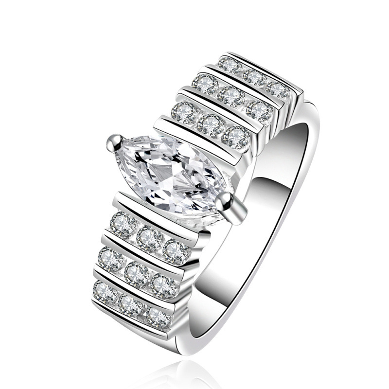 Crysta Horizontal Three Rows Of Stones Style Round Zircon Ring Jewelry Fashion For Women