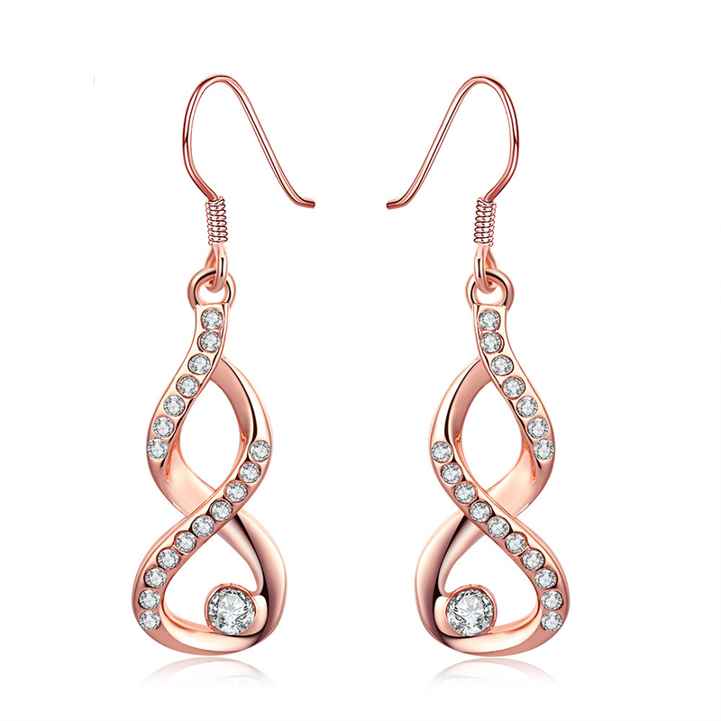 Crystal 8 Shaped Inlaid AAA+ Cubic Zirconia Czech Drill Hook Dangle Earrings For Women