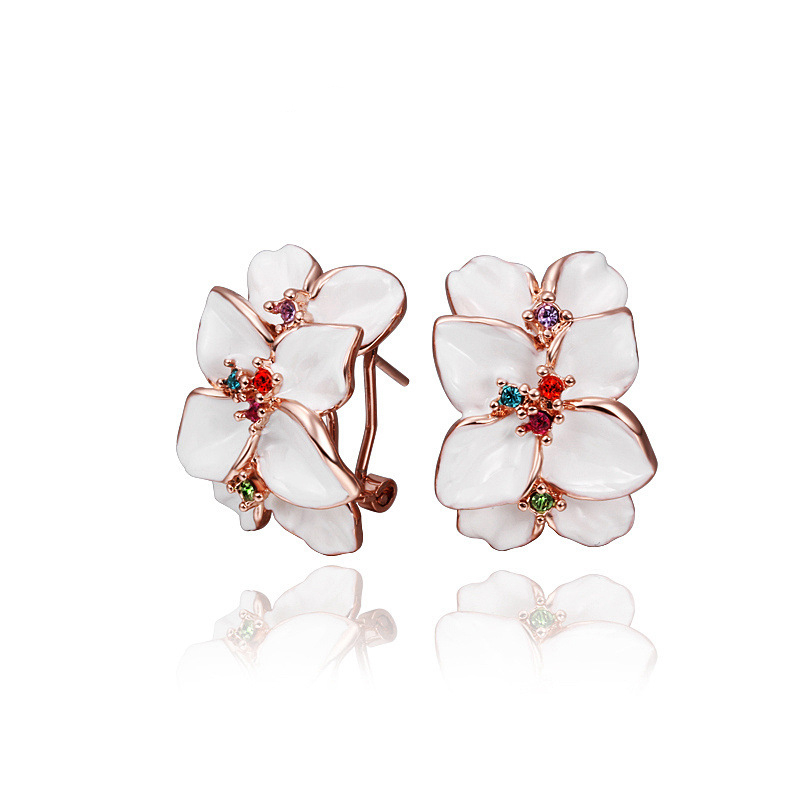 Romantic Baked Enamel Flower Earrings With Colorful AAA+ Cubic Zircon Crystal Ear Studs For Women