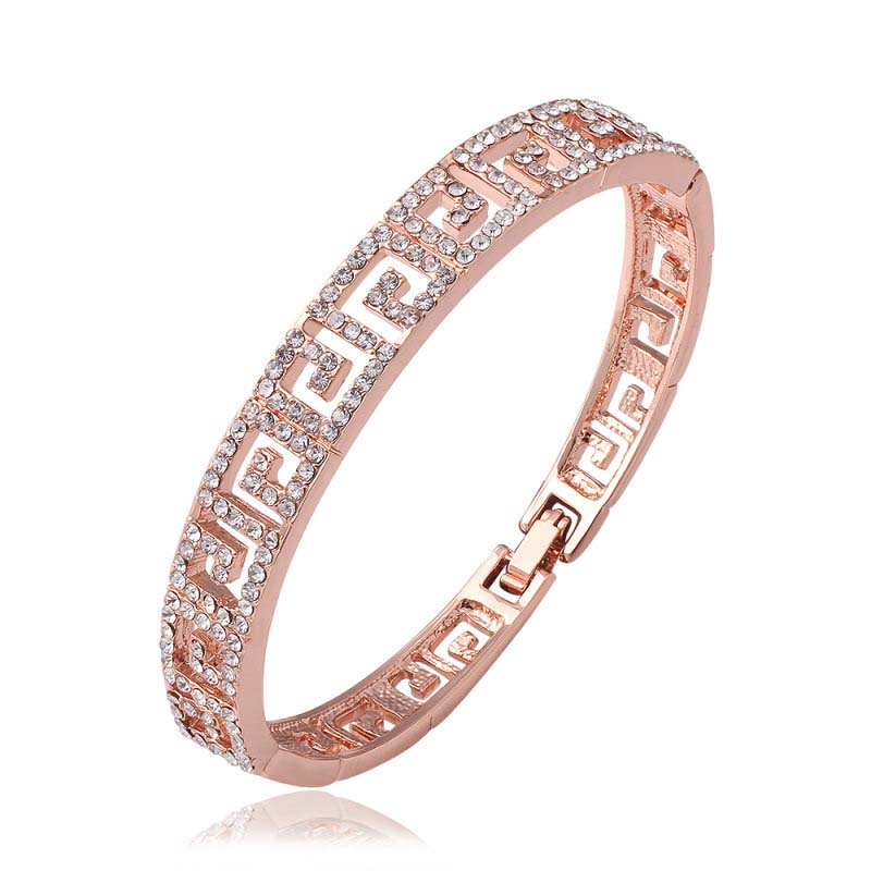 Romantic Geometric Square Bangle with Crystal Jewelry Fashion For Women