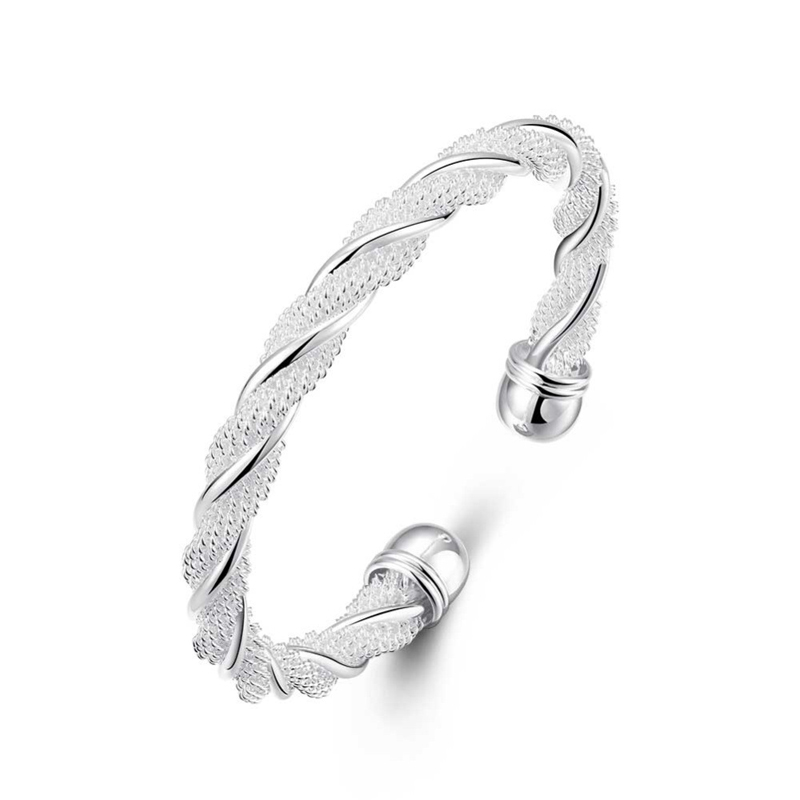 Simple Design Twisted Web Mesh Rope Bracelet Silvery Bangle Jewelry Fashion For Women