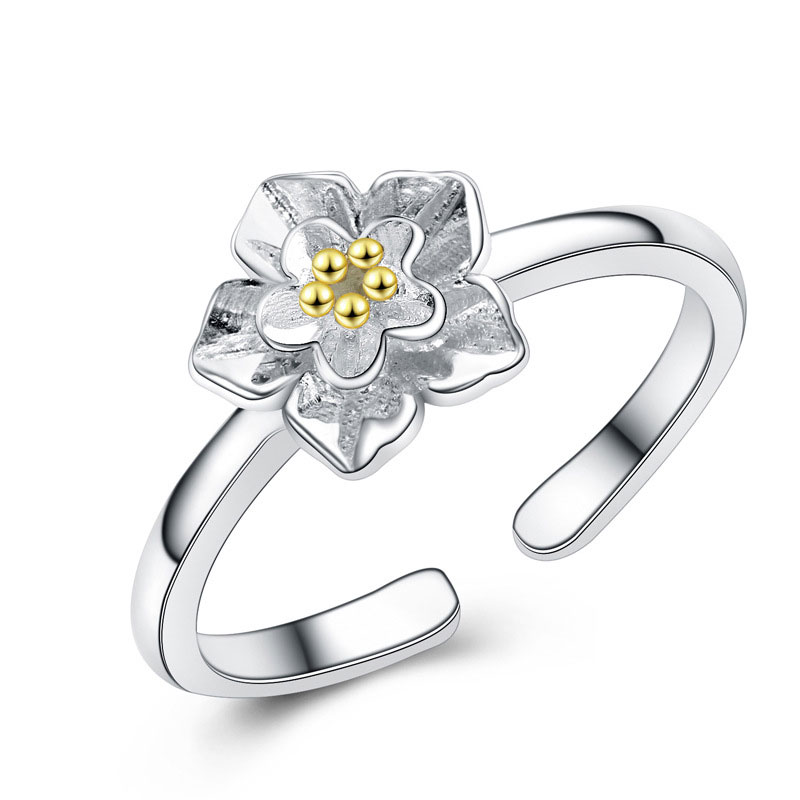 Adjustable 925 Sterling Silver Chrysanthemum Jewelry Ring for Women
