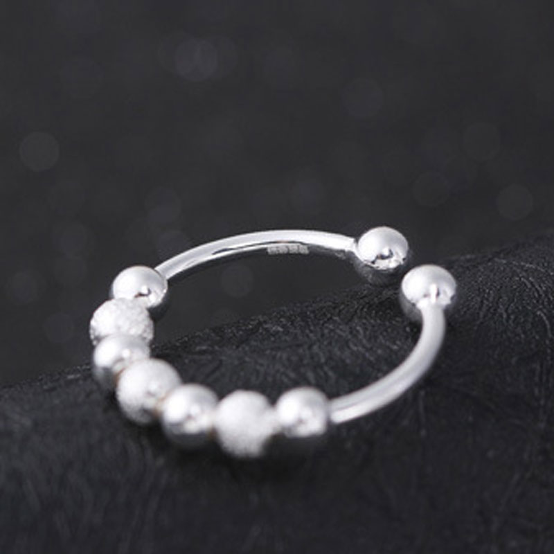 Adjustable 925 Sterling Silver Round Women Jewelry Ring E316