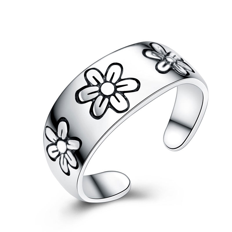 925 Sterling Silver Chrysanthemum Adjustable Jewelry Ring for Women E192