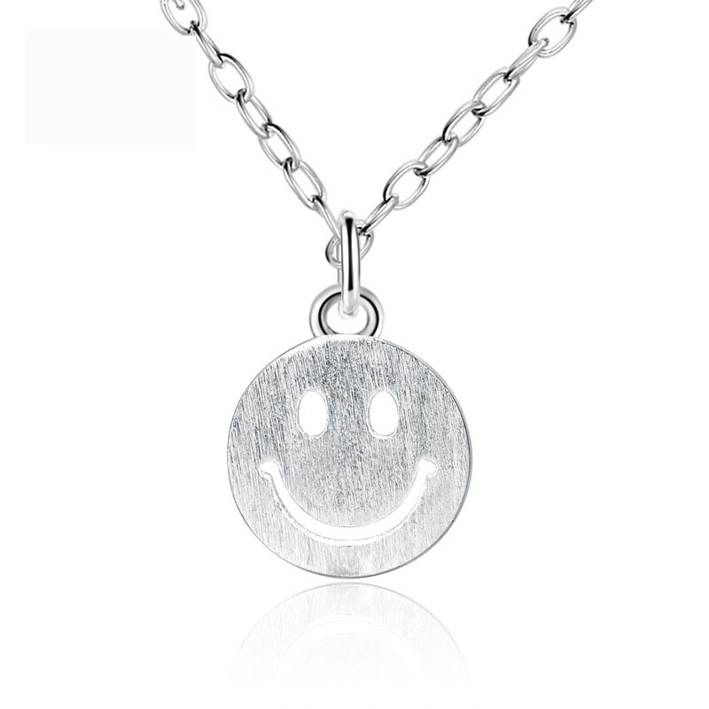 925 Sterling Silver Necklace with Smile Face for Women A388