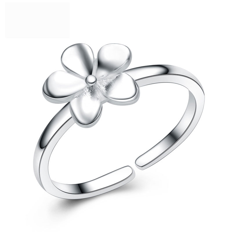 Flower 925 Sterling Silver Adjustable Jewelry Ring for Women E205