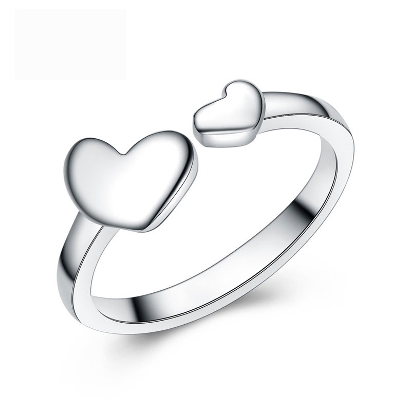 Hearts Shaped 925 Sterling Silver Adjustable Women Jewelry Ring E161