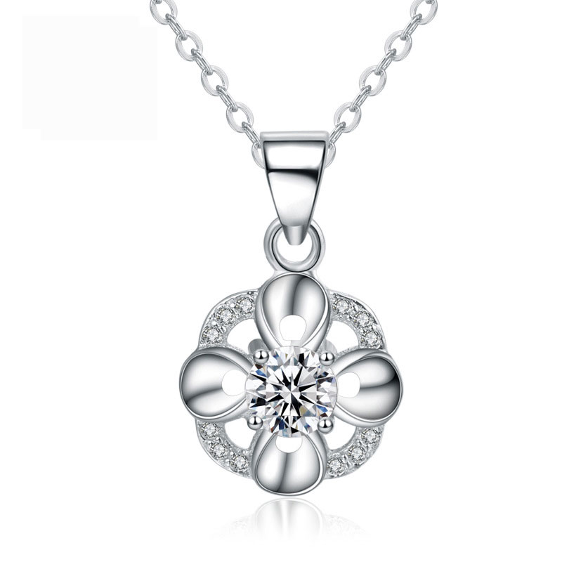 Fashion Simple 925 Sterling Silver Diamonds Necklace for Women A379