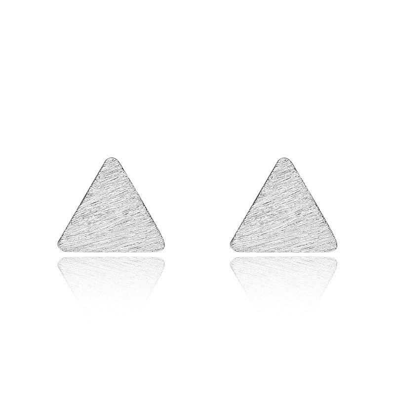 Simple Triangle Ear Studs 925 Sterling Silver Earrings for Women B092