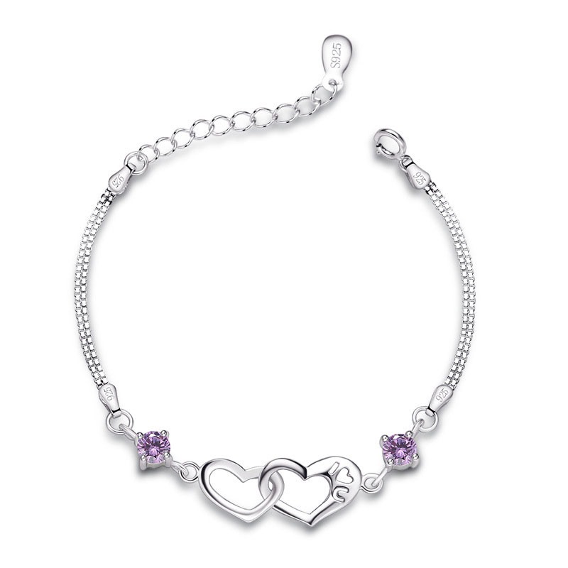 Women Heart Purple Diamonds 925 Sterling Silver Bracelet D004