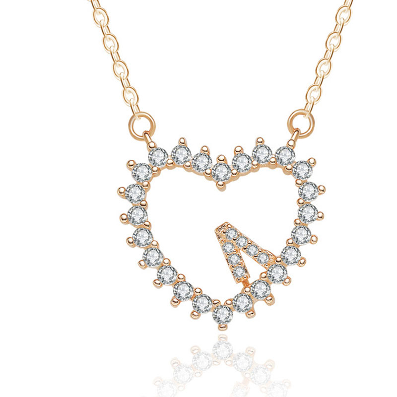 Love Heart Shaped 925 Sterling Silver Necklace for Women A204