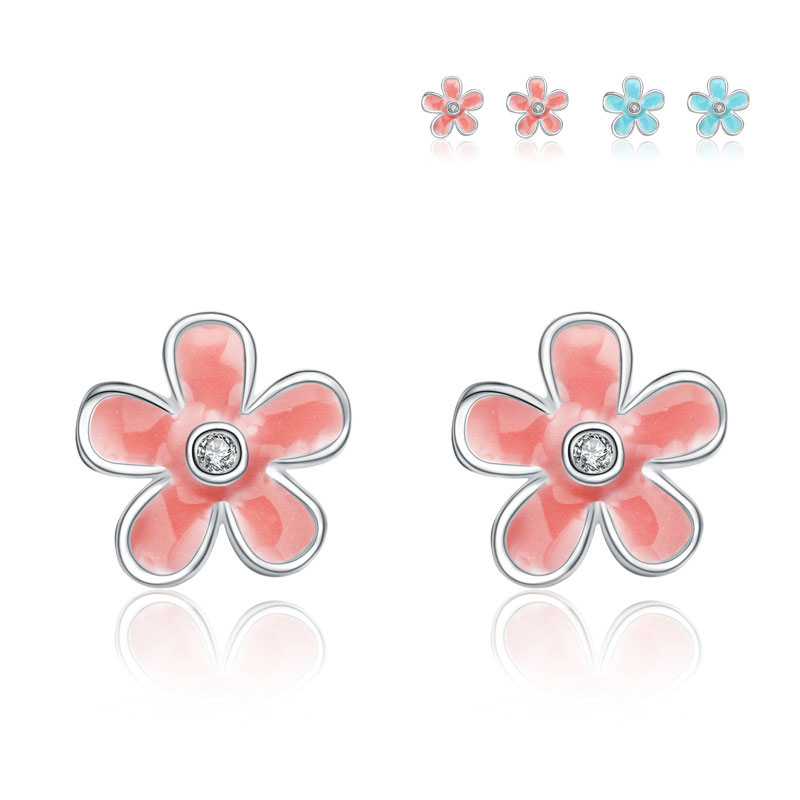 Small Chrysanthemum 925 Sterling Silver Earrings for Women B294