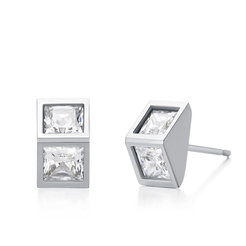 Square Zircon Ear Stud Fashion 925 Sterling Silver Earrings for Women