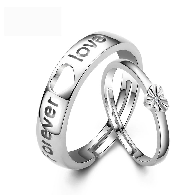 Simple Forever Love Adjustable 925 Sterling Silver Jewelry Ring for Couple
