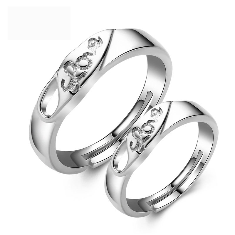 Fashion Letters Adjustable 925 Sterling Silver Jewelry Ring for Couple