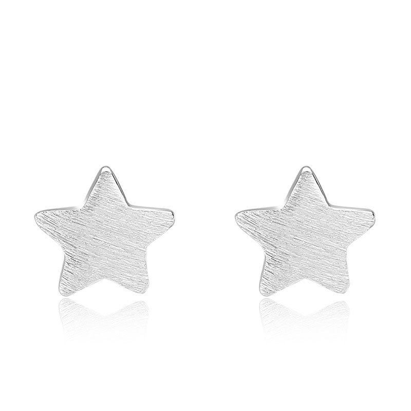 925 Sterling Silver Five-pointed Star Earrings for Women B090