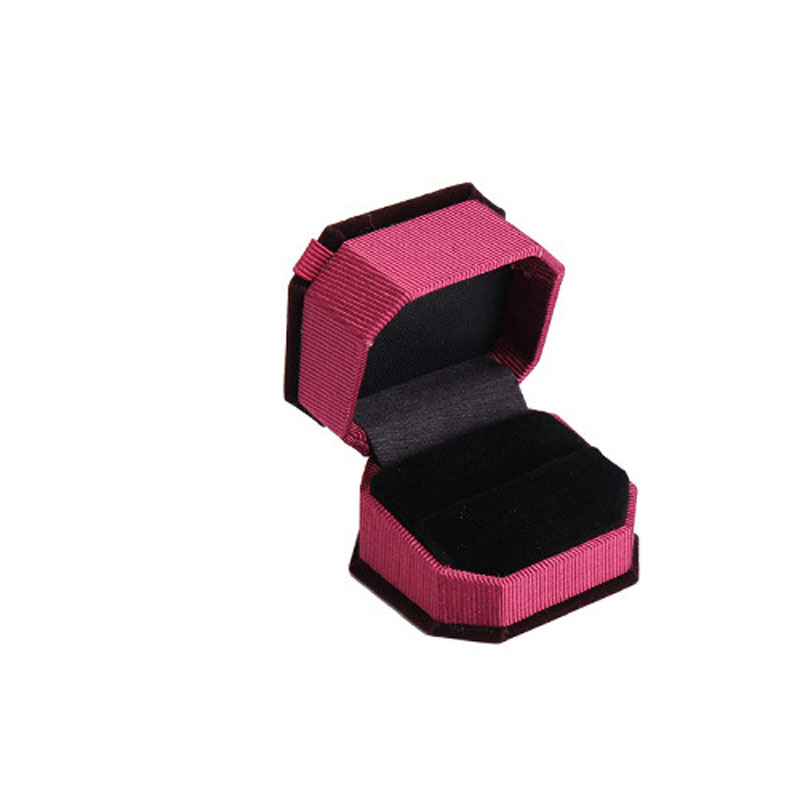 Claret-red Flannelette Foldable Boxes For Wedding Ring