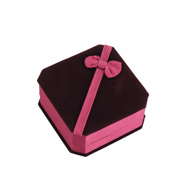 Claret-red Flannelette Foldable Boxes For Bracelet