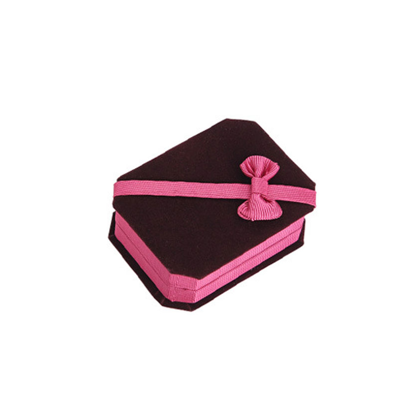 Claret-red Flannelette Foldable Boxes For Necklace