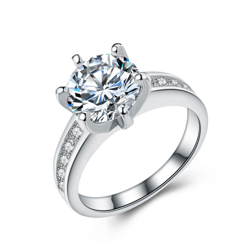High Quality 925 Sterling Silver Diamonds Jewelry Ring for Women E661