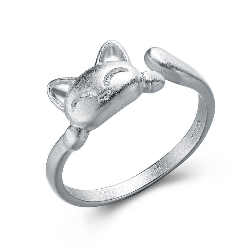 Plutus Cat Ring 925 Sterling Silver Adjustable Ring For Women