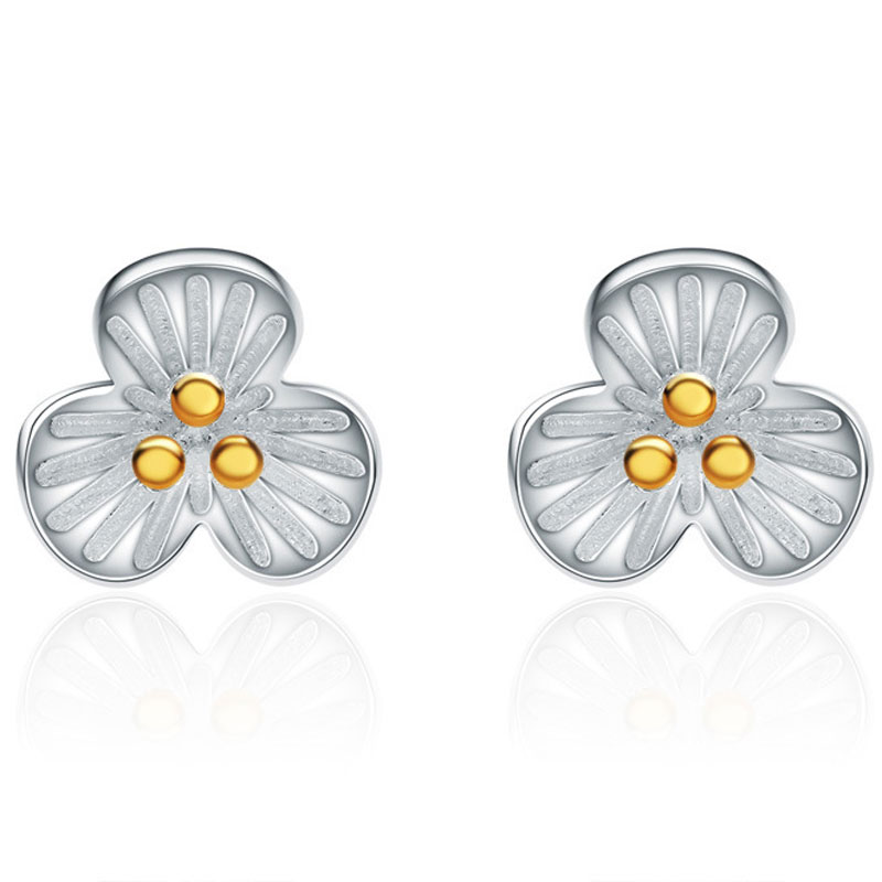 925 Sterling Silver Fashion Female Flower Stud Earrings