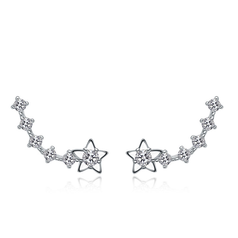 New Fashion Female 925 Sterling Silver Five-pointed Star Stud Earrings
