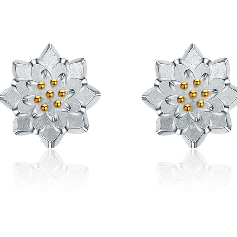 925 Sterling Silver Fashion Female Lotus Stud Earrings