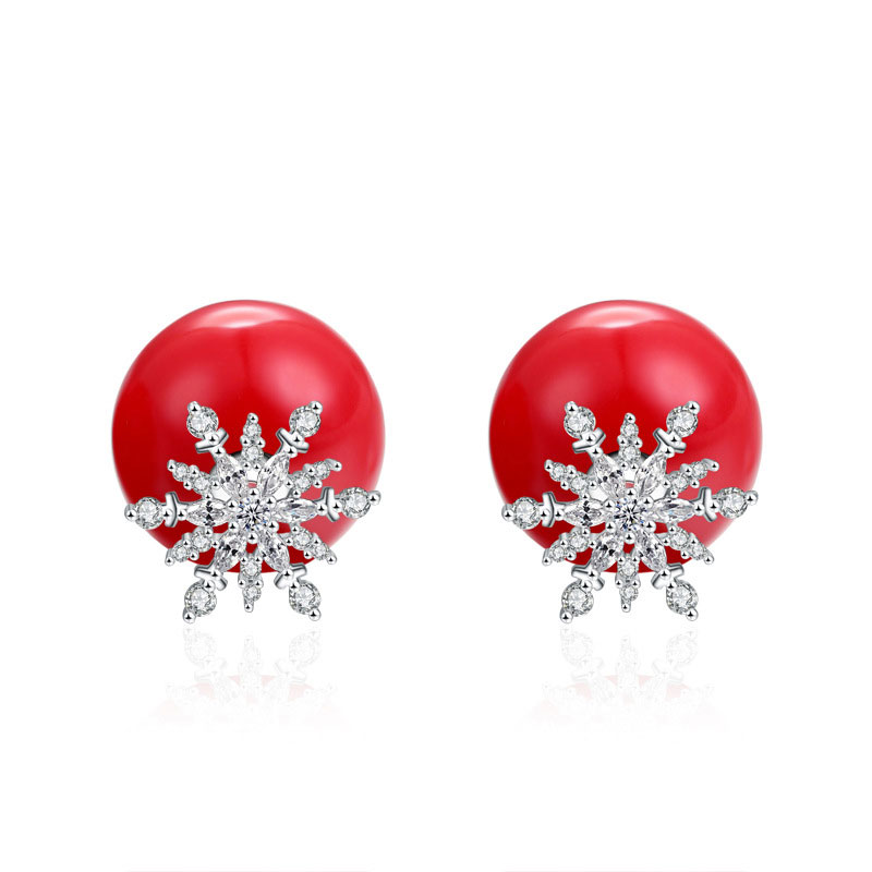 Hot Sale 925 Sterling Silver Female Snow Red Shell Stud Earrings