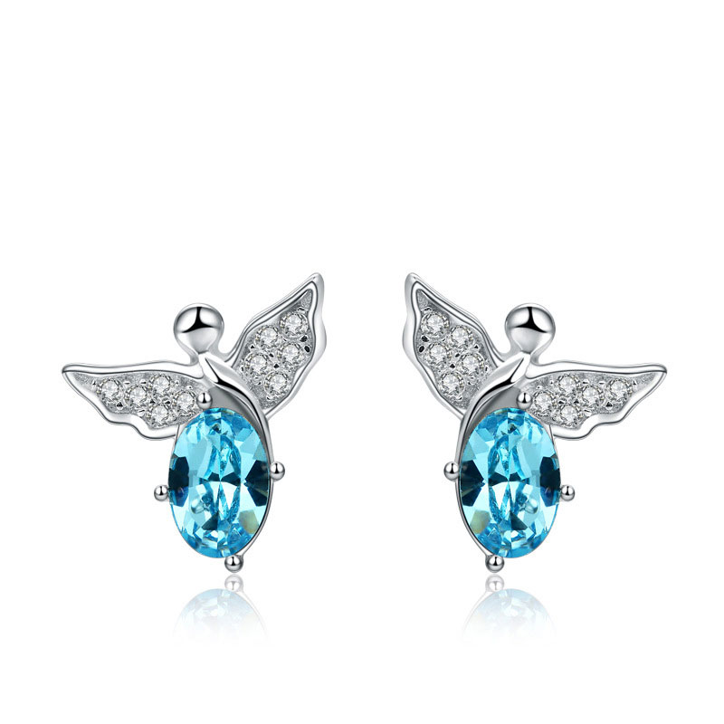 Hot Sale Cute 925 Sterling Silver Female Angel Stud Earrings