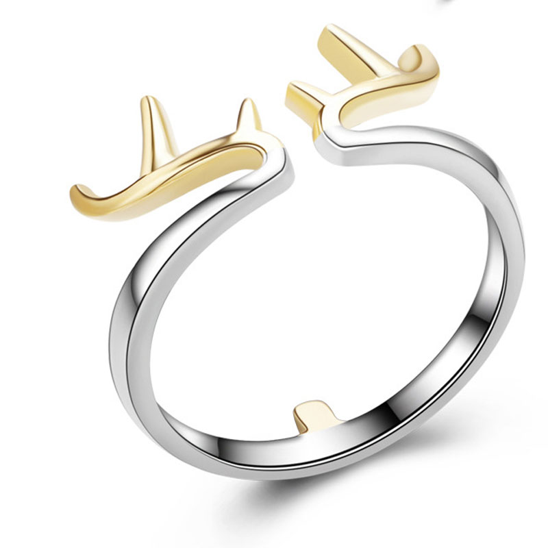 Christmas Antlers Ring 925 Sterling Silver Adjustable Ring For Women