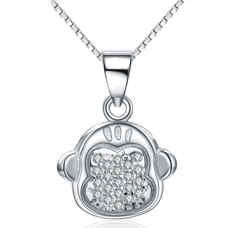 Diamante Fashion Monkey 925 Sterling Silver Female Necklace